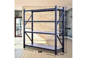 2M x 2.4M Metal Heavy Duty Shelving (Charcoal)