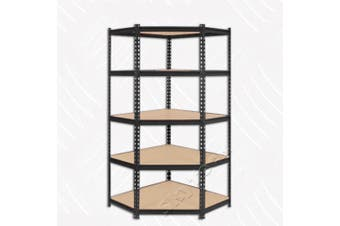 90cm MDF Black Garage Corner Shelving (Black)