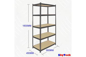 90cm MDF Black Garage Shelving (Black)