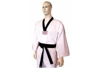 Yamasaki V2 Ribbed Taekwondo Uniform - Black V Neck 8Oz