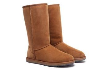 Ugg Boots Tall Classic - 100% Premium Double Faced Australian Sheepskin, Non-Slip - Chestnut, AU Ladies 5/ AU Men 3/ EU36