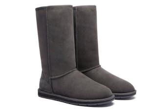 Ugg Boots Tall Classic - 100% Premium Double Faced Australian Sheepskin, Non-Slip - Grey, AU Ladies 6/ AU Men 4/ EU37