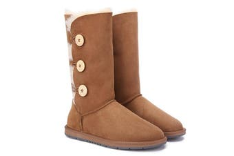 Ugg Boots Classic Tall in 3 Button - 100% Premium Australian Sheepskin, Non-Slip - Chestnut, AU Ladies 10/ AU Men 8/ EU41