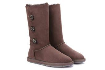 Ugg Boots Classic Tall in 3 Button - 100% Premium Australian Sheepskin, Non-Slip - Chocolate, AU Ladies 9/ AU Men 7/ EU40