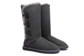 Ugg Boots Classic Tall in 3 Button - 100% Premium Australian Sheepskin, Non-Slip - Grey, AU Ladies 4/ AU Men 2/ EU35