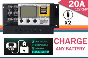 Acemor 12V 24V Solar Panel Battery Regulator Charge Controller 20A Pwm Lcd Usb