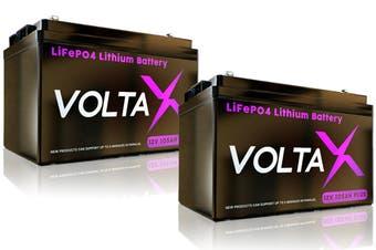 VoltaX 2x 105Ah 12V Lithium Iron Battery LiFePO4 Deep Cycle RV Solar Camping Caravan