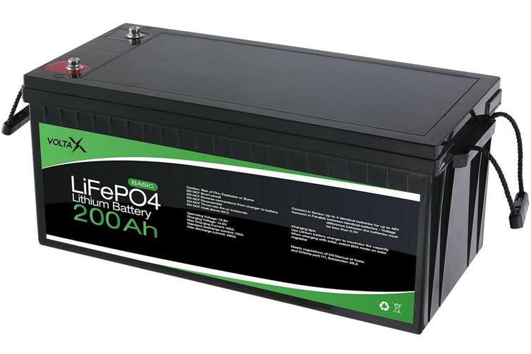 200Ah 12V VoltaX Lithium Iron Battery LiFePO4 Rechargeable Solar Camping Caravan