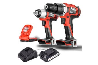 Matrix Power Tools 20V Cordless Brushed Drill + Impact Wrench + Work Light Combo Kit