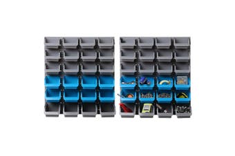 48 Bins Storage Rack Wall Mounted Shelf Box Garage Workshop Warehouse Tool Parts Organiser Accessories Holder Detachable