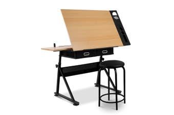 Tilt Drafting Table Stool Set - Natural & Black