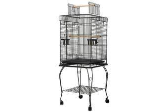 Large Bird Cage Pet Parrot House Carrier Birdcage Feeder 2 Wooden Perch Open Top Roof Casters Wheel Bottom Storage Shelf
