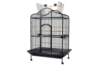 Extra Large Bird Cage Pet Parrot House Carrier Birdcage Feeder Tray 2 Wooden Perch Open Top Roof Casters Wheels 140Cm