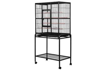 Large Bird Cage Pet Parrot House Carrier Birdcage Feeder Tray 4 Wooden Perch Bottom Storage Shelf Lockable Casters Wheel