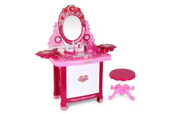 30 Piece Kid'S Dressing Table Set Girls Princess Dress-Up Make-Up Dresser Beauty Pretend Play Desk Toys with Stool