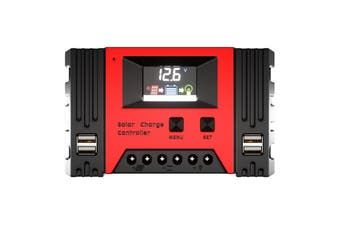 20A 30A 40A Solar Charge Controller 12V 24V Lithium Battery Panel Regulator 4 USB 5V2A Output Large LCD Displaying PWM 3STAGE Charging 4 USB Output Suitable For Lead acid Lithium battery AGM And Gel