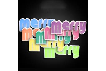 Stockholm Christmas LED Letter Merry Sign Light Indoor Party Xmas Decoration Rainbow Color