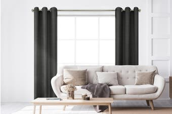BAHA Henley Eyelet Room Darkening Curtain 2 PACK (Black)