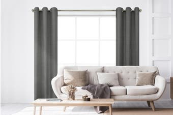BAHA Henley Eyelet Room Darkening Curtain 2 PACK (Charcoal)