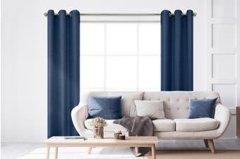 BAHA Henley Eyelet Room Darkening Curtain 2 PACK (Navy Blue)