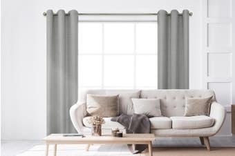 BAHA Henley Eyelet Room Darkening Curtain 2 PACK (Light Grey)