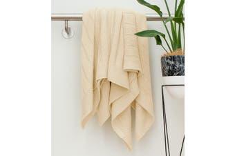 BAHA Almond Cream Knitted Throw Rug