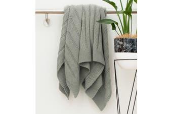 BAHA Hazy Grey Knitted Throw Rug