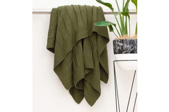 BAHA Olive Green Knitted Throw Rug