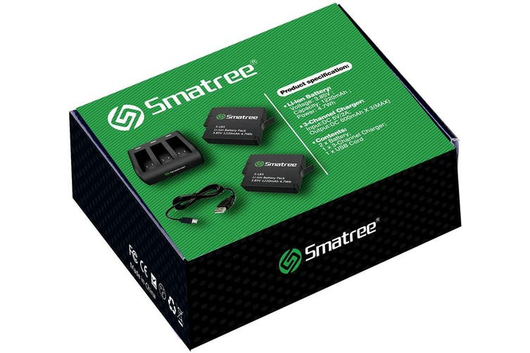 Smatree Battery (2-Pack) with 3-Channel Charger for Gopro Hero 7 Black (Compatible with all newest firmware)