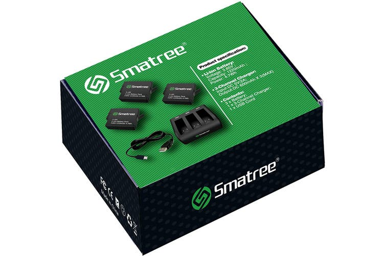 Smatree Battery (3-Pack) with 3-Channel Charger for Gopro Hero 5 Black (Compatible with all newest firmware)