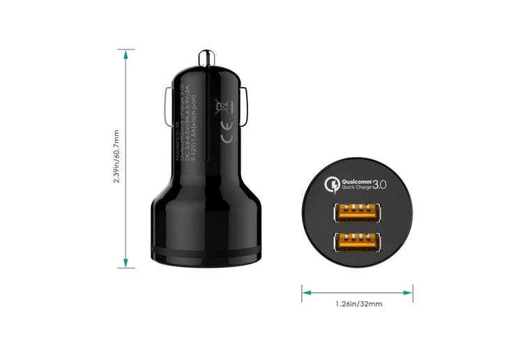AUKEY Dual QC 3.0 USB Port Car Charger 2 Quick Charge Charging Power Adapter NEW