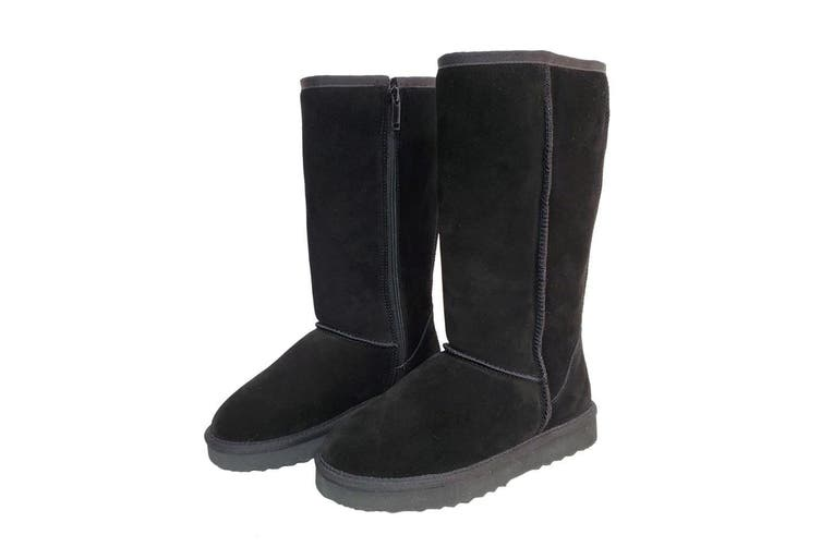 AUS WOOLI UGG TALL ZIP-UP SHEEPSKIN BOOT - Black