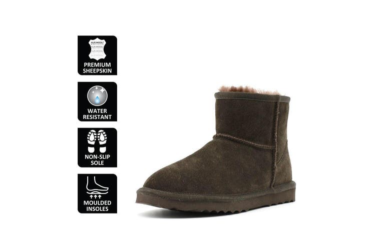 AUS WOOLI UGG SHORT SHEEPSKIN ANKLE BOOT - Chocolate