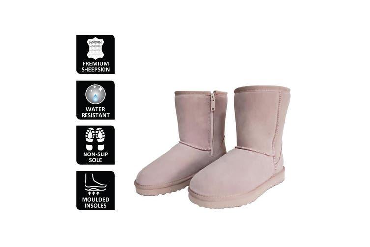 AUS WOOLI UGG MID CALF ZIP-UP SHEEPSKIN BOOT - Pale Pink