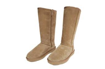 AUS WOOLI UGG TALL ZIP-UP SHEEPSKIN BOOT - Chestnut/Tan