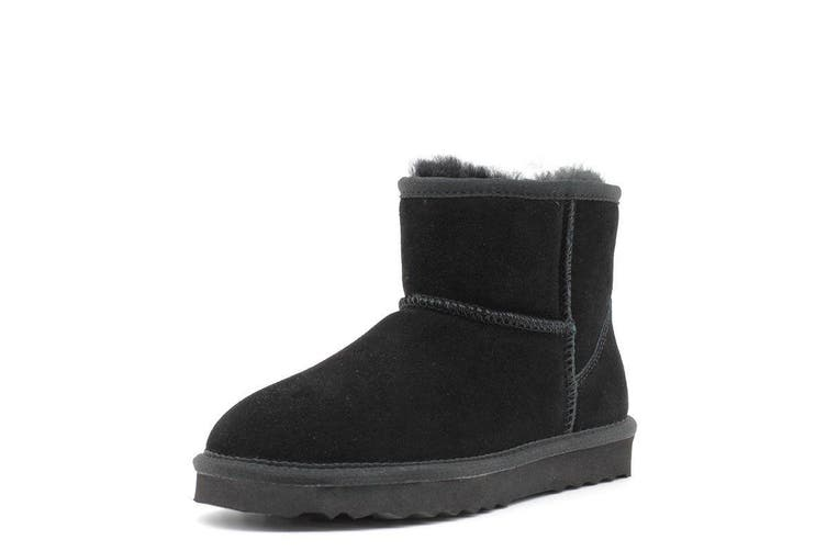 AUS WOOLI UGG SHORT SHEEPSKIN ANKLE BOOT - Black