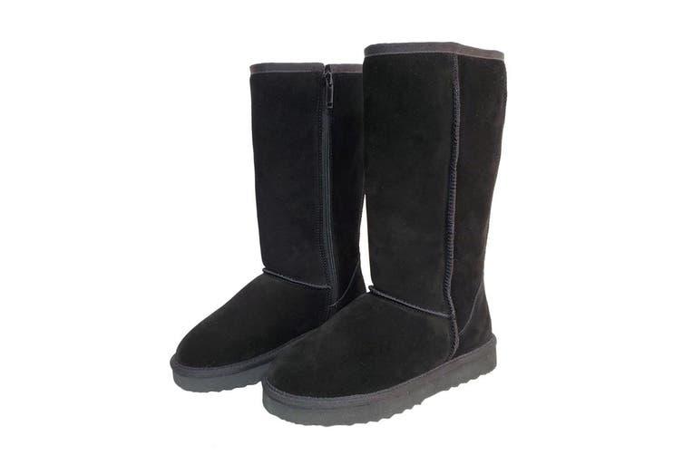 AUS WOOLI UGG TALL ZIP-UP SHEEPSKIN BOOT - Black