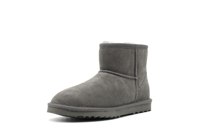 AUS WOOLI UGG SHORT SHEEPSKIN ANKLE BOOT - Grey