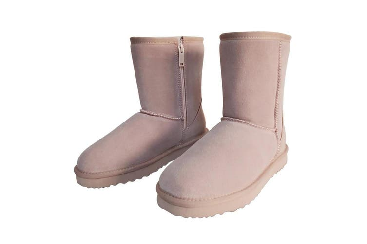 AUS WOOLI UGG MID CALF ZIP-UP SHEEPSKIN BOOT - Pale Pink