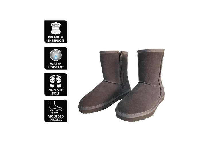 AUS WOOLI UGG MID CALF ZIP-UP SHEEPSKIN BOOT - Grey