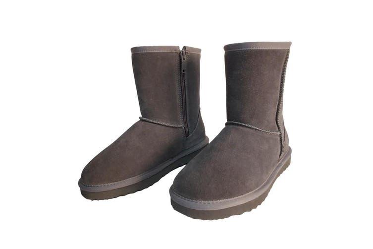 AUS WOOLI UGG MID CALF ZIP-UP SHEEPSKIN BOOT - Grey