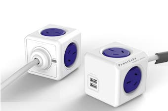 ALLOCACOC POWERCUBE Extended 4 Outlets with 2 USB 1.5M - Blue (0114)