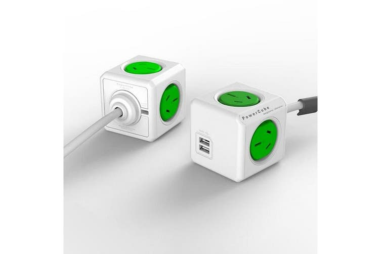 ALLOCACOC POWERCUBE Extended 4 Outlets with 2 USB 1.5M - Green (0091)