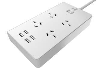 Aerocool ASA QA4A4U2 PowerStrip w/ 4 AC Outlet and 4 USB Charging Ports, 5V/2.4A