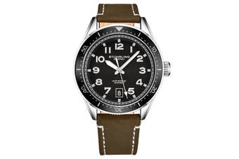 Stuhrling Monaco Men's Quartz Silver Case Black Bezel Black Dial Luminous Silver Hands and Markers Brown Leather Strap with White Contrast Stitching Watch