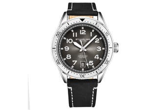 Stuhrling Monaco Men's Quartz Silver Case Silver Bezel Grey Dial Luminous Silver Hands and Markers Black Leather Strap with White Contrast Stitching Watch
