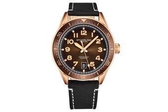Stuhrling Monaco Men's Quartz Rose/Gold Toned Case Brown Bezel Brown Dial Grey Leather Strap White Contrast Stitching Watch