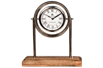 BOND STREET LONDON 36cm Tall Desk Clock with Timber Base and Round White Face