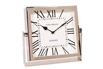 TOWER BRIDGE LONDON 22.5cm Desk Clock on Stand with Square White Face - Nickel