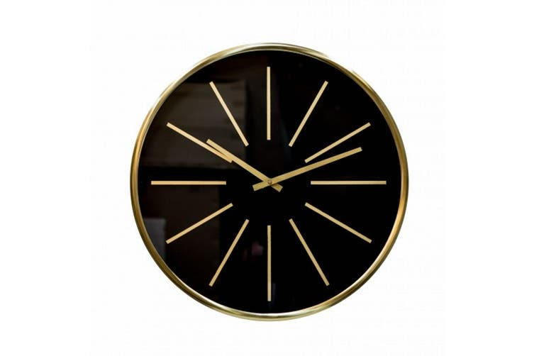 Dick Smith Glamour Large 60cm Round Wall Clock With Brass Surround And Black Face Clocks